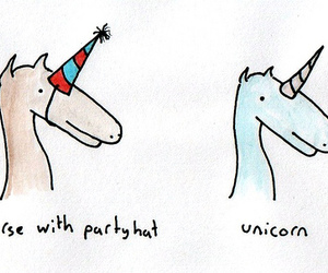 unicorn, horse, and party hat image