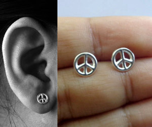 earrings, jewelry, and peace sign jewelry image