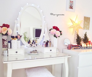 dressing table, makeup, and roses image