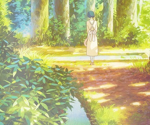 anime, girl, and landscape image