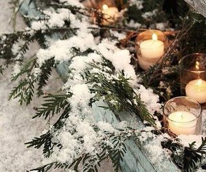 candles, fire, and snow image