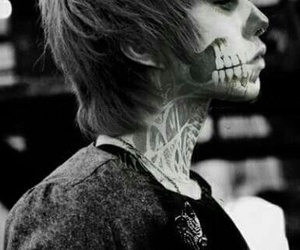 boy, black and white, and skull image