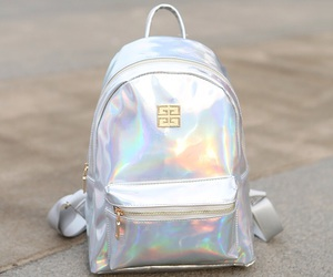 backpack, silver, and fashion image