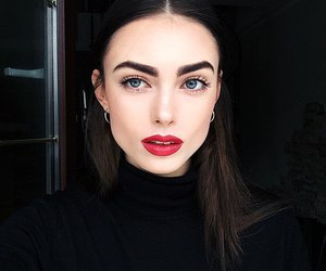 girl, beauty, and red lips image
