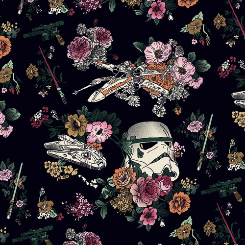 Star Wars floral print fabric. by wild thing | WHI