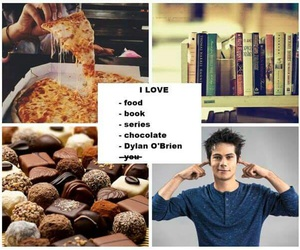 dylan o'brien, book, and chocolate image