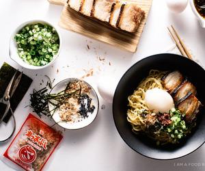 noodle, pork, and foodporn image