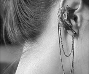 awesome, earring, and b&w image