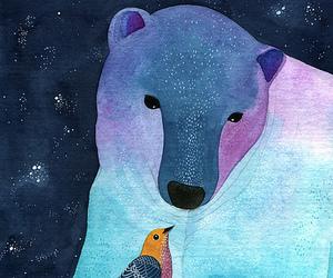 art, bear, and bird image