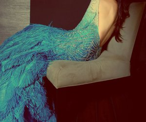 dress, blue, and feather image