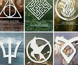harry potter, percy jackson, and divergent image