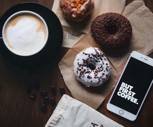 coffee, donuts, and yummy image