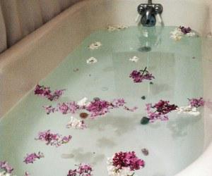 flowers, grunge, and bath image