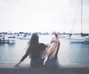 girl, best friends, and hair image