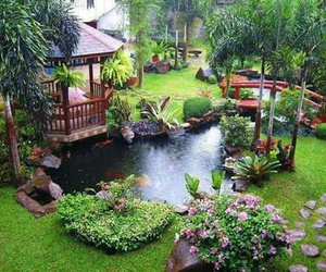 garden, pond, and home image