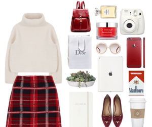 fashion, plaid skirt, and Polyvore image