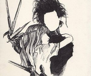 drawing, edward scissorhands, and johnny depp image