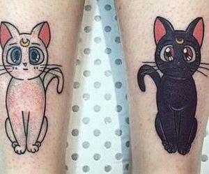 cat, moon, and tattoo image