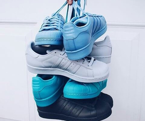 blue, adidas, and shoes image