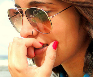 girl, red nails, and sunglasses image