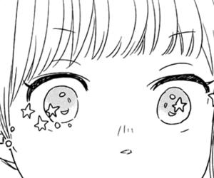 manga, black and white, and eyes image