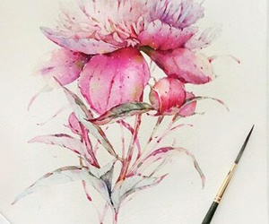 art, flower, and pink image