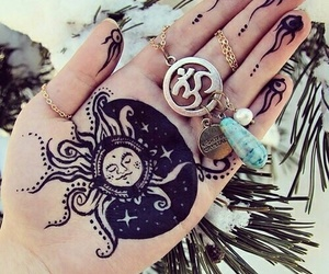 sun, hippie, and hand image