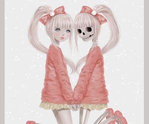 pink, anime, and skeleton image