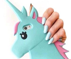 unicorn, nails, and blue image