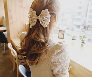 girl, bow, and hair image