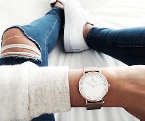 fashion, watch, and jeans image