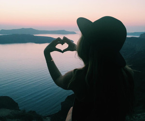 sunset, girl, and heart image