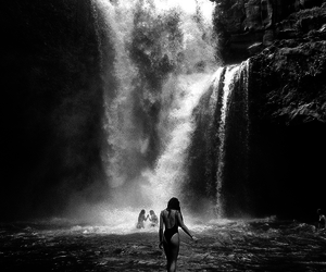 girl, waterfall, and summer image