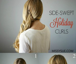 hair, hairdo, and side swept curls image