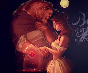 beauty and the beast, princess, and beast and belle image