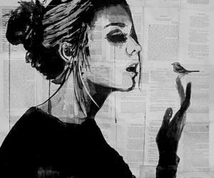 girl, art, and bird image
