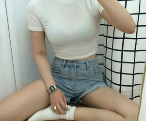 high waisted shorts, white top, and style image