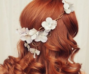 curly hair, dyed hair, and flowers image