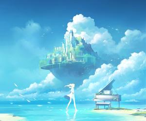 art, piano, and sky image