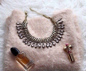 fashion, lipstick, and necklace image