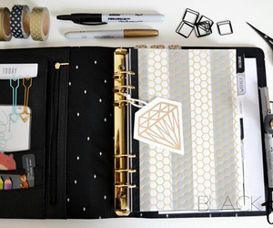 black, gold, and planner image