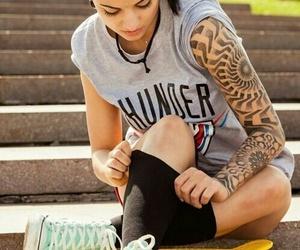 girl, skate, and tattoo image