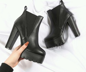 black boots, fashion, and high heels image