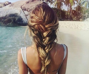 beach, hairstyle, and seaside image