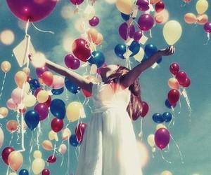 balloons, girl, and sky image