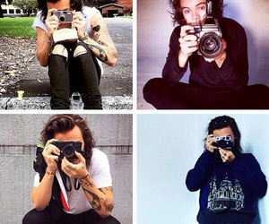 Harry Styles, camera, and one direction image
