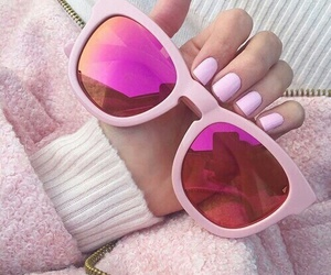 pink, nails, and sunglasses image