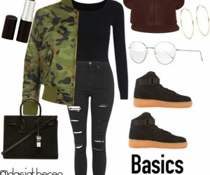 black sneakers, black leather purse, and burgundy lipstick image