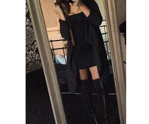 black, boots, and brunette image