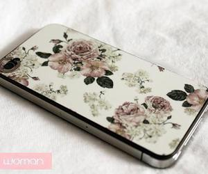cellphone, iphone, and flowers image